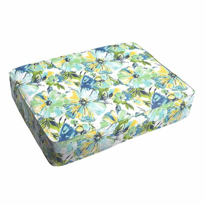 Shoffner Floral Piped Outdoor Ottoman Cushion