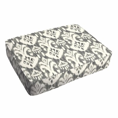 Villalpando Ikat Piped Outdoor Ottoman Cushion Fabric: Gray/White