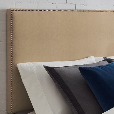 Kimmell Upholstered Panel Headboard Size: King, Color: Khaki