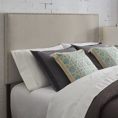 Vannessa Nailhead Trim Upholstered Panel Headboard Size: King, Upholstery: Gray
