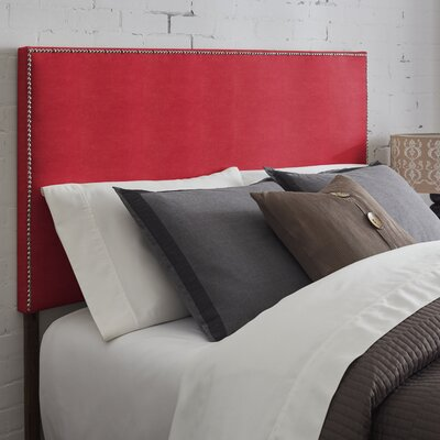 Vannessa Nailhead Trim Upholstered Panel Headboard Size: King, Upholstery: Red