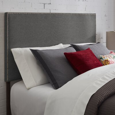 Vannessa Nailhead Trim Upholstered Panel Headboard Size: King, Upholstery: Charcoal