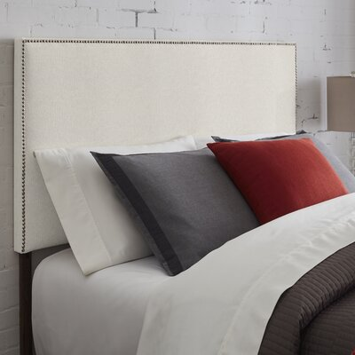 Vannessa Nailhead Trim Upholstered Panel Headboard Size: King, Upholstery: Ivory