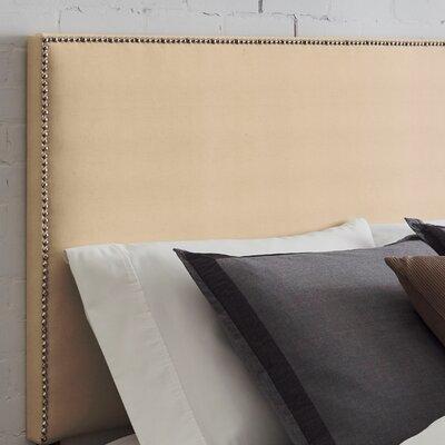 Vannessa Nailhead Trim Upholstered Panel Headboard Size: Full, Upholstery: Velvet Ivory