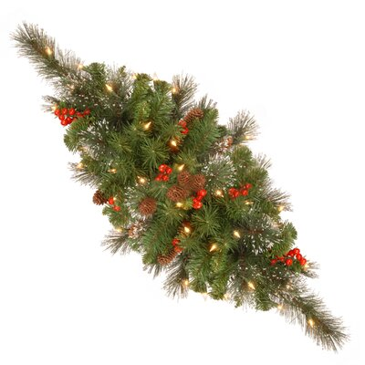 "National Tree Co. Crestwood Spruce Pre-Lit 30"" Centerpiece with 35 Battery-Operated White LED Lights"