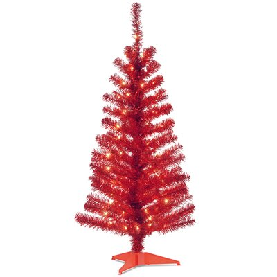 "Tinsel Trees 4"" Red Artificial Christmas Tree with 70 Clear Lights and Stand"