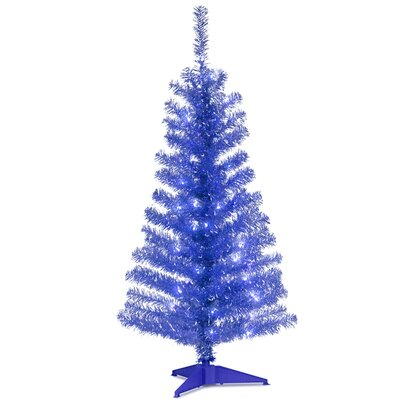 "Tinsel Trees 4"" Blue Artificial Christmas Tree with 70 Clear Lights and Stand"