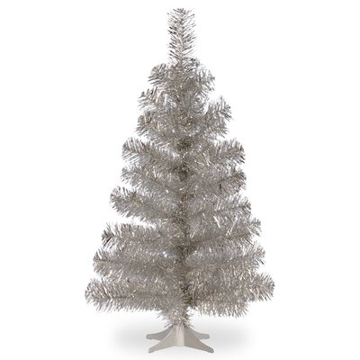 Tinsel Trees 3' Silver Artificial Christmas Tree and Stand