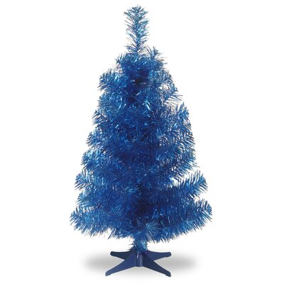 """Tinsel Trees 3"""" Blue Artificial Christmas Tree and Stand"""