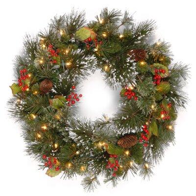 Pre-Lit Faux Pine Wreath