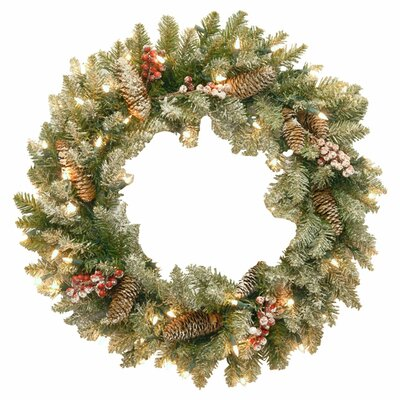 Pre-Lit Faux Fir Wreath with Snow