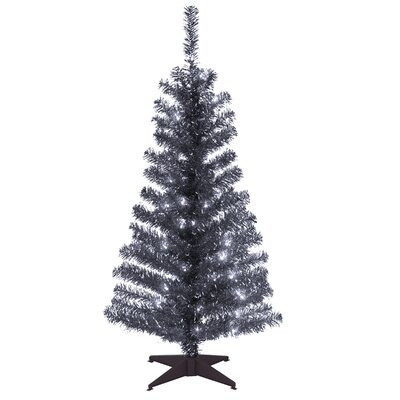 Tinsel Trees 4' Black Artificial Christmas Tree with Plastic Stand