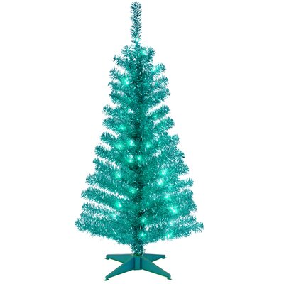 National Tree Co. Tinsel Trees 4' Turquoise Artificial ChristmasTree with Plastic Stand