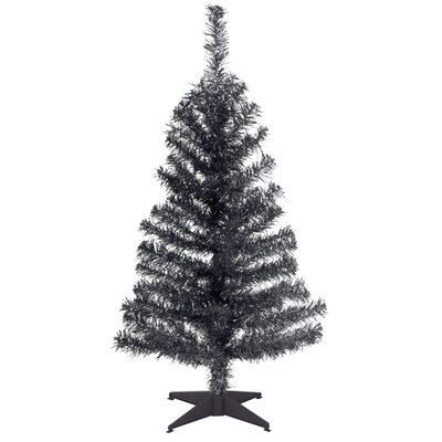Tinsel Trees 3' Black Artificial Christmas Tree with Plastic Stand