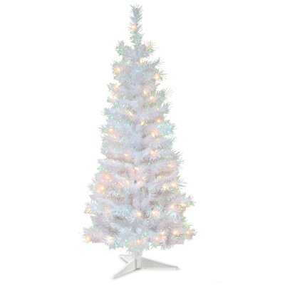 Tinsel Trees 4' White Iridescent Artificial Christmas Tree with 70 White Lights with Stand