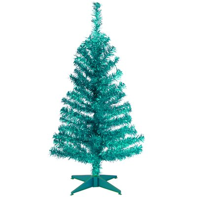 Tinsel Trees 3' Turquoise Tinsel Artificial Christmas Tree with Plastic Stand