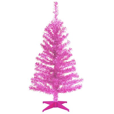 Tinsel Trees 3' Pink Tinsel Artificial Christmas Tree with Plastic Stand