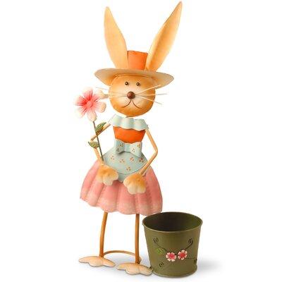 Metal Rabbit Holding Flower Easter Decoration