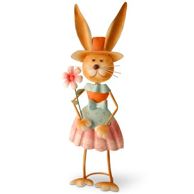 Metal Rabbit Holding Flower Garden Statue Easter Decoration
