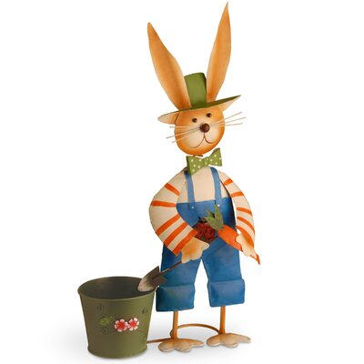 Metal Rabbit Pot Easter Decoration
