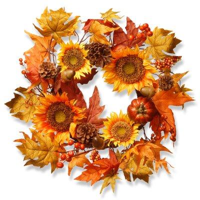 Faux Orange & Yellow Sunflower Wreath RAHV-W060630A