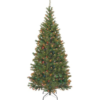 Aspen Hinged Green Spruce Artificial Christmas Tree with Multi-Colored Lights with Stand
