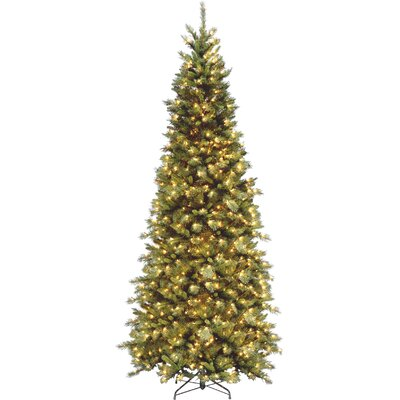 Tiffany Fir 9' Green Slim Artificial Christmas Tree with 700 Pre-Lit Clear Lights with Stand