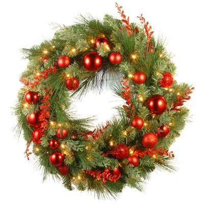 Pre-Lit Christmas Mixed Wreaths with Battery-Operated White LED Lights Size: 30