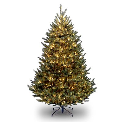 Natural Fraser 7.5' Green Medium Fir Artificial Christmas Tree with 1000 Pre-Lit Clear Lights with Stand
