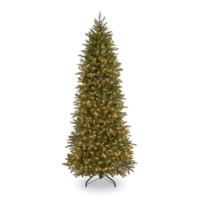 Jersey Fraser Fir 7.5' Green Pencil Slim Artificial Christmas Tree with 650 Pre-Lit Clear Lights with Stand