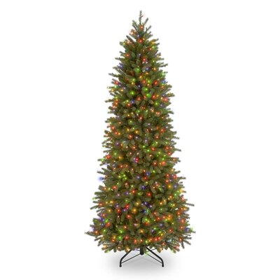 Jersey Fraser Fir 7.5' Green Pencil Slim Artificial Christmas Tree with 650 Pre-Lit Multi-Colored Lights with Stand