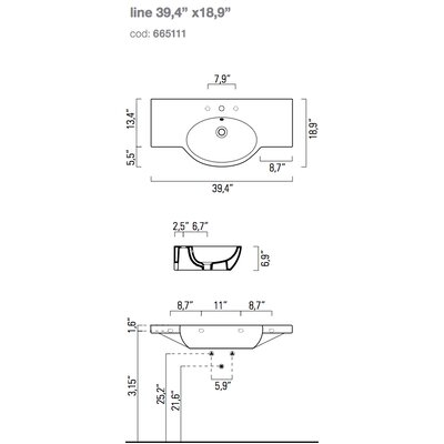 Traccia 23.6 Wall Mounted Bathroom Sink with Overflow