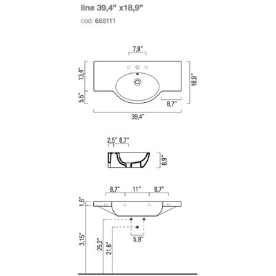 Traccia 30 Wall Mount Bathroom Sink with Overflow