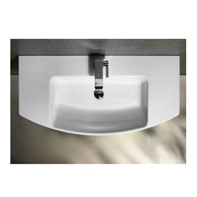 Modo Ceramic 7 Wall Mount Bathroom Sink with Overflow