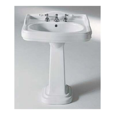 Old Antea Classic Ceramic 29 Pedestal Bathroom Sink with Overflow Faucet Mount: Single Hole