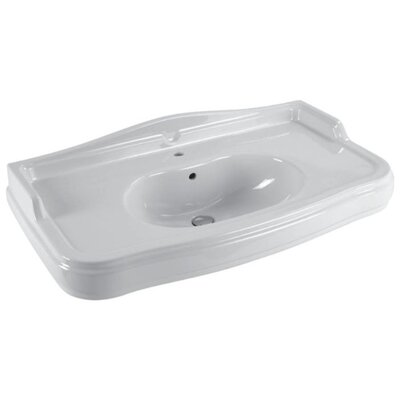 Traccia Curved Ceramic 42 Wall mount Bathroom Sink with Overflow Faucet Mount: Single Hole