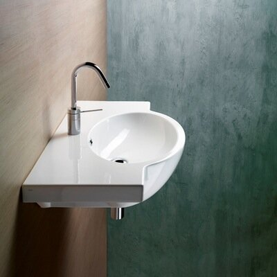 Panorama Ceramic 32 Wall Mount Bathroom Sink with Overflow Faucet Mount: Single Hole