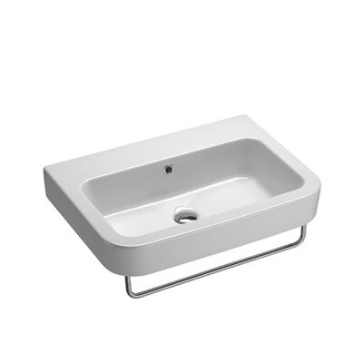 Traccia Ceramic 26 Wall Mount Bathroom Sink with Overflow Faucet Mount: 8 Centers