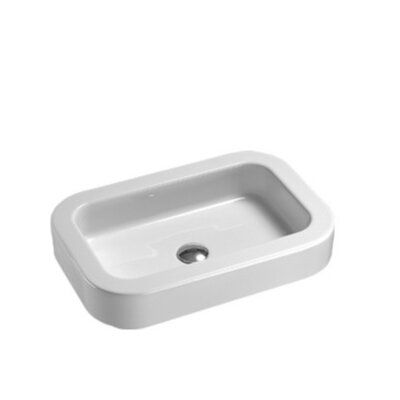 Traccia Modern Curved White Ceramic Countertop or Built-In Bathroom Sink