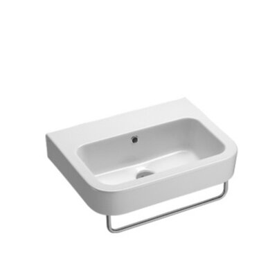 Traccia Modern Curved White Ceramic Wall Hung Bathroom Sink without Overflow