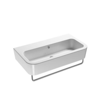 Traccia Curved Ceramic 30 Bathroom Sink with Overflow Faucet Mount: No Hole