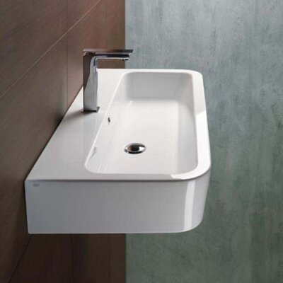 Traccia Ceramic Rectangular Vessel Bathroom Sink with Overflow Faucet Mount: Single Hole