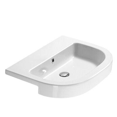 Traccia Round Ceramic Vessel Bathroom Sink Faucet Mount: No Hole