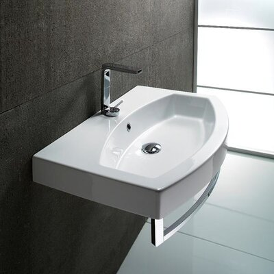 Traccia Ceramic 32 Wall Mount Bathroom Sink with Overflow