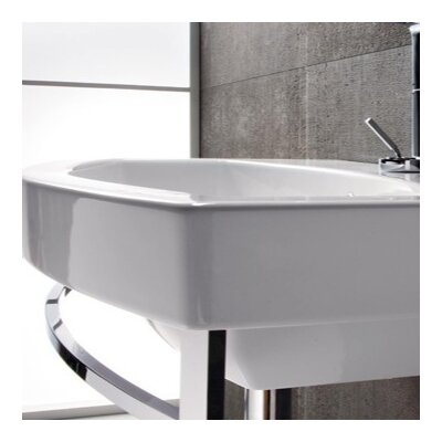 Curved Ceramic Losagna 24 Wall mount Bathroom Sink with Overflow Faucet Mount: Single Hole
