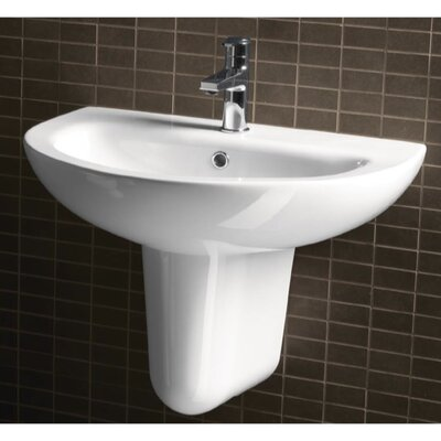 City Modern Curved White Ceramic Wall Hung Half Pedestal Bathroom Sink