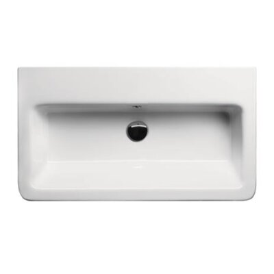 City Ceramic 32 Bathroom Sink with Overflow Faucet Mount: 8 Centers