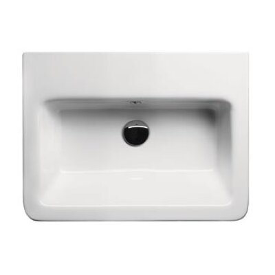 City Ceramic 24 Bathroom Sink with Overflow Faucet Mount: 8 Centers