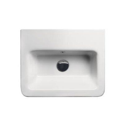 City Ceramic 20 Bathroom Sink with Overflow Faucet Mount: Single Hole