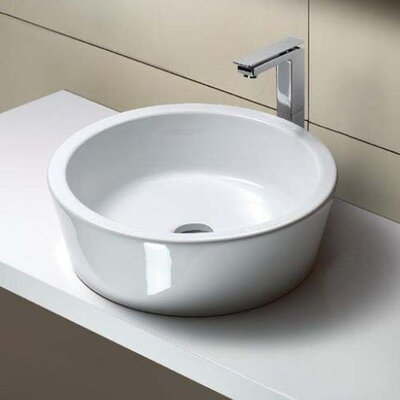 Traccia Curved Ceramic Circular Vessel Bathroom Sink